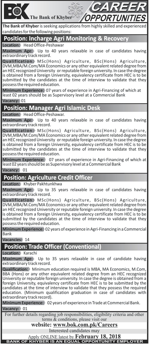 Jobs In Bank Of Khyber 12 Feb 2018