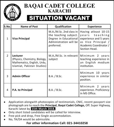 Jobs in Baqai Cadet College 04 March 2018