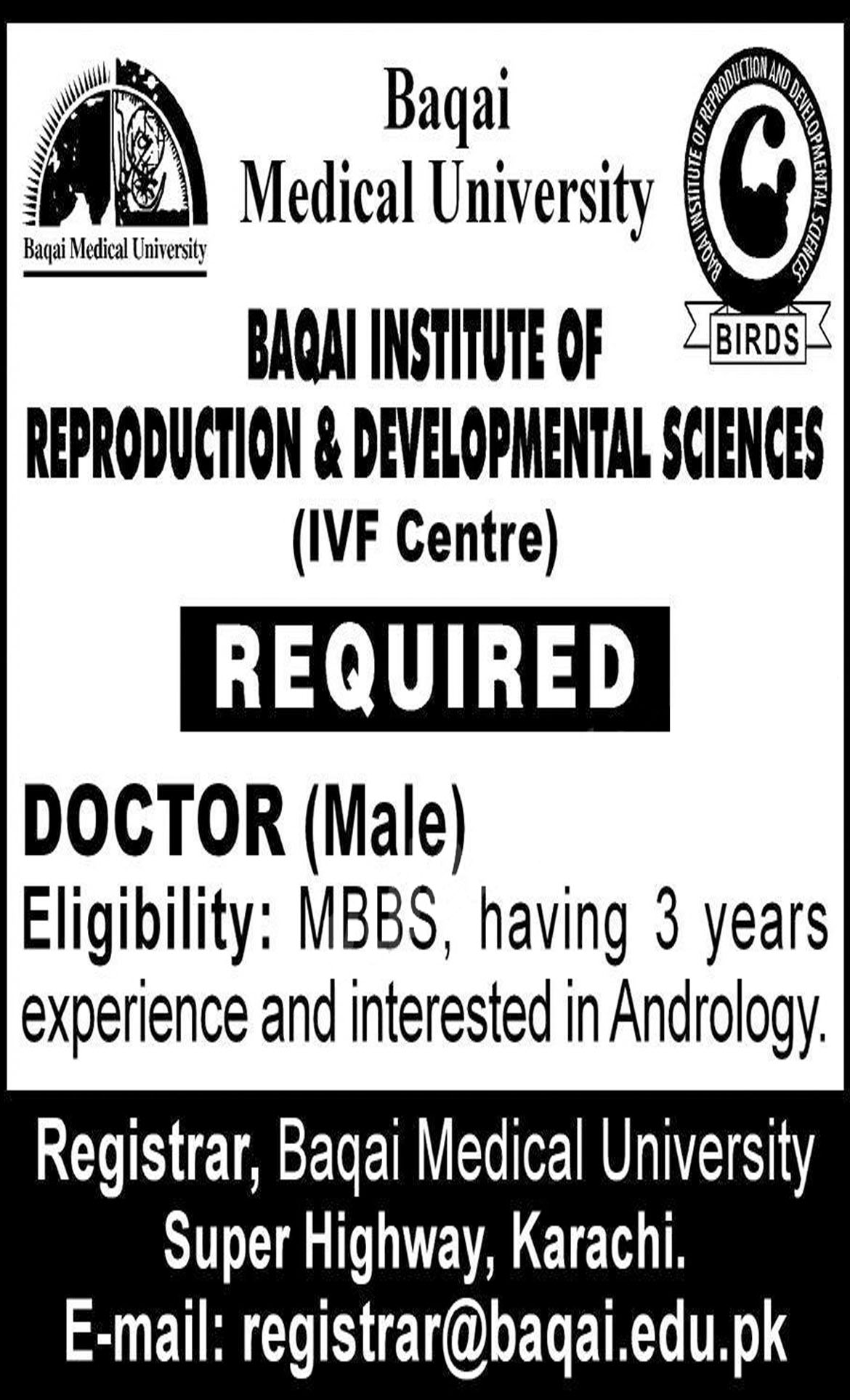 Jobs In Baqai Medical University 05 Dec 2018