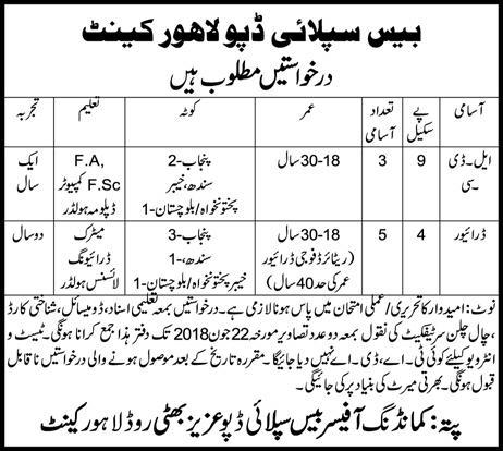 Jobs in Base Supply Depot Lahore Cantt 07 June 2018