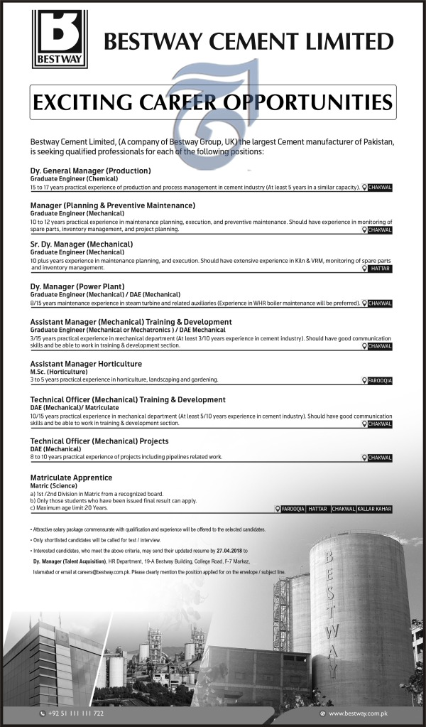 Jobs in Bestway Cement Ltd 22 April 2018