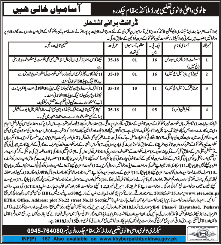 Jobs In Board Of Intermediate And Secondary Education Malakand 11 Jan 2018
