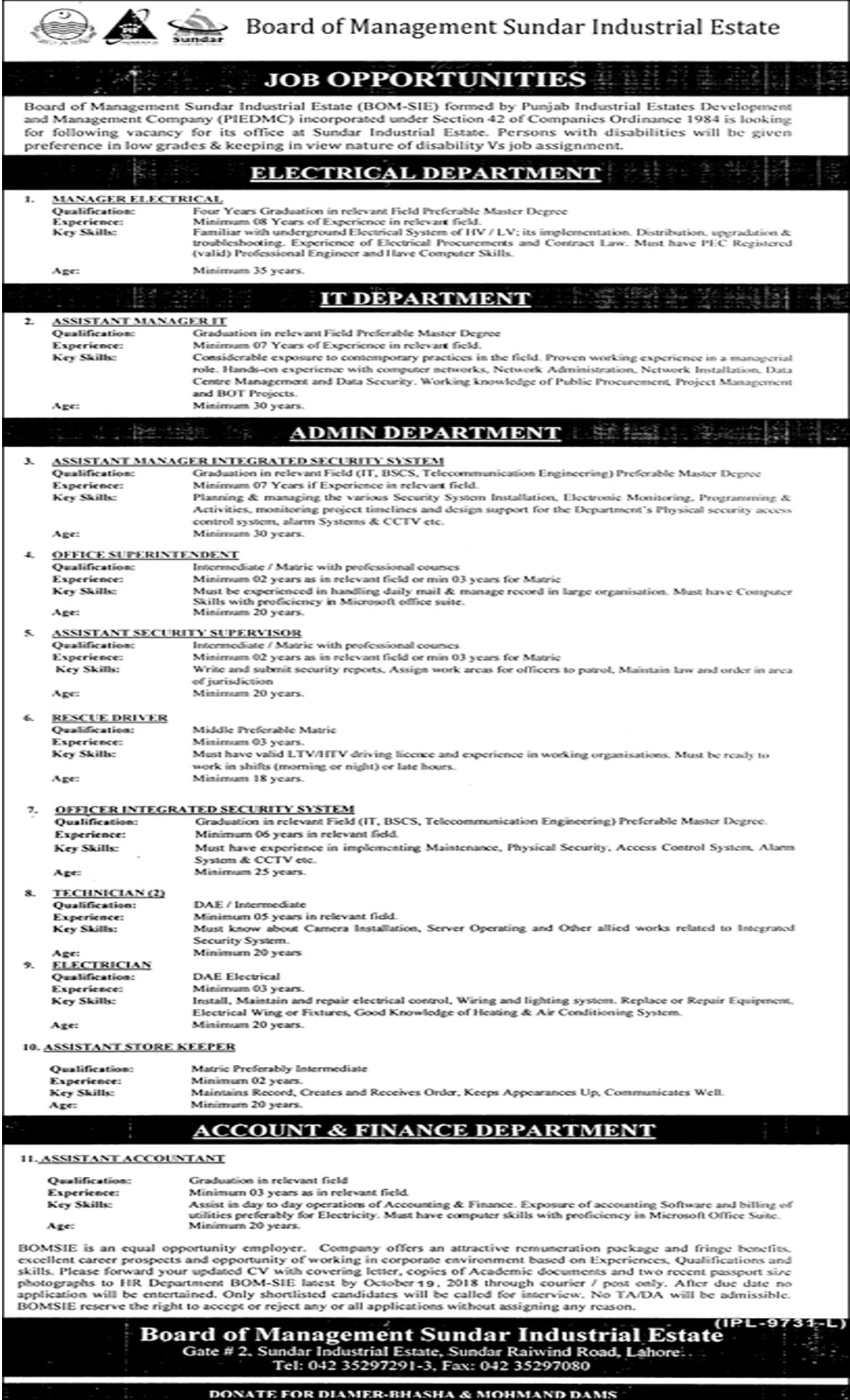 Jobs In Board Of Management Sundar Industrial Estate 04 Oct 2018