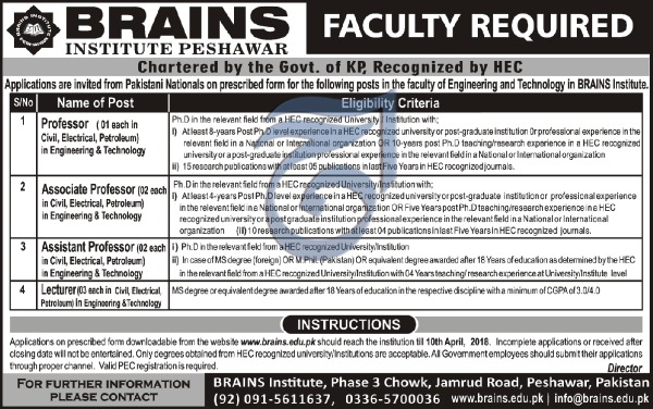 Jobs In Brain Institute Peshawar 25 Mar 2018