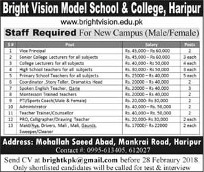 Jobs In Bright Vision Model School & College 17 Feb 2018