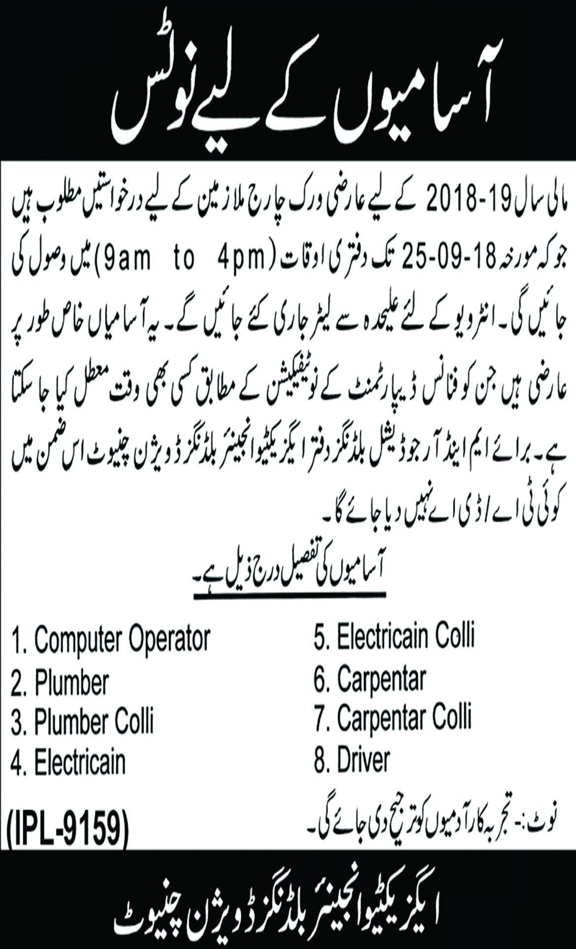 Jobs In Building Division Chiniot 11 Sep 2018
