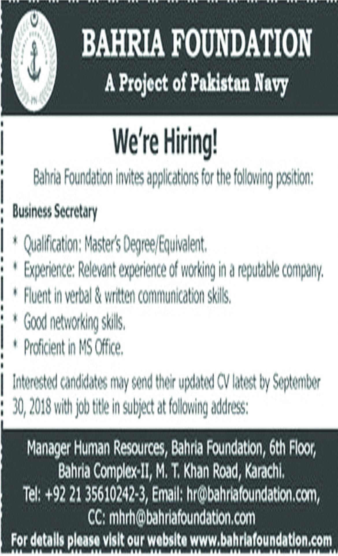 Jobs In Business Secretary Required In Bahria Foundation 24 Sep 2018
