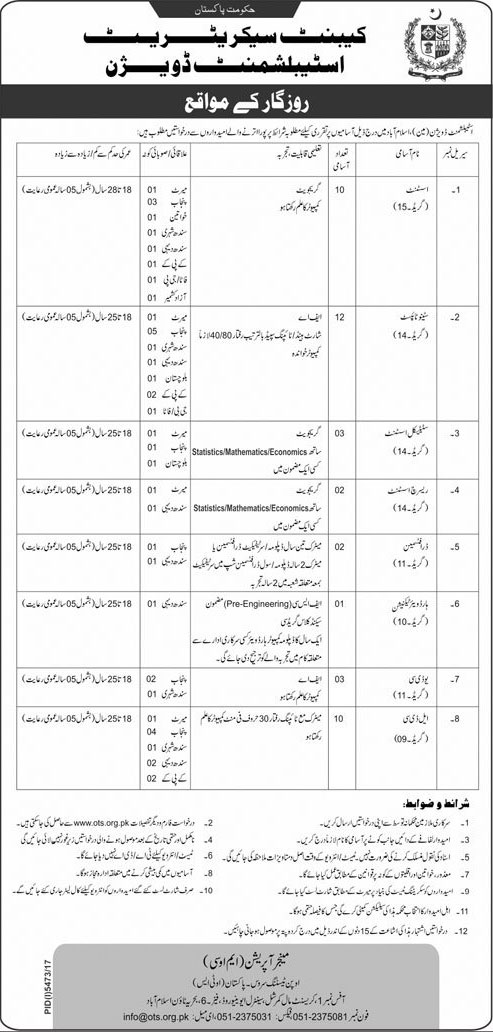 Jobs in Cabnet Secretariat Establishment Division 06 April 2018