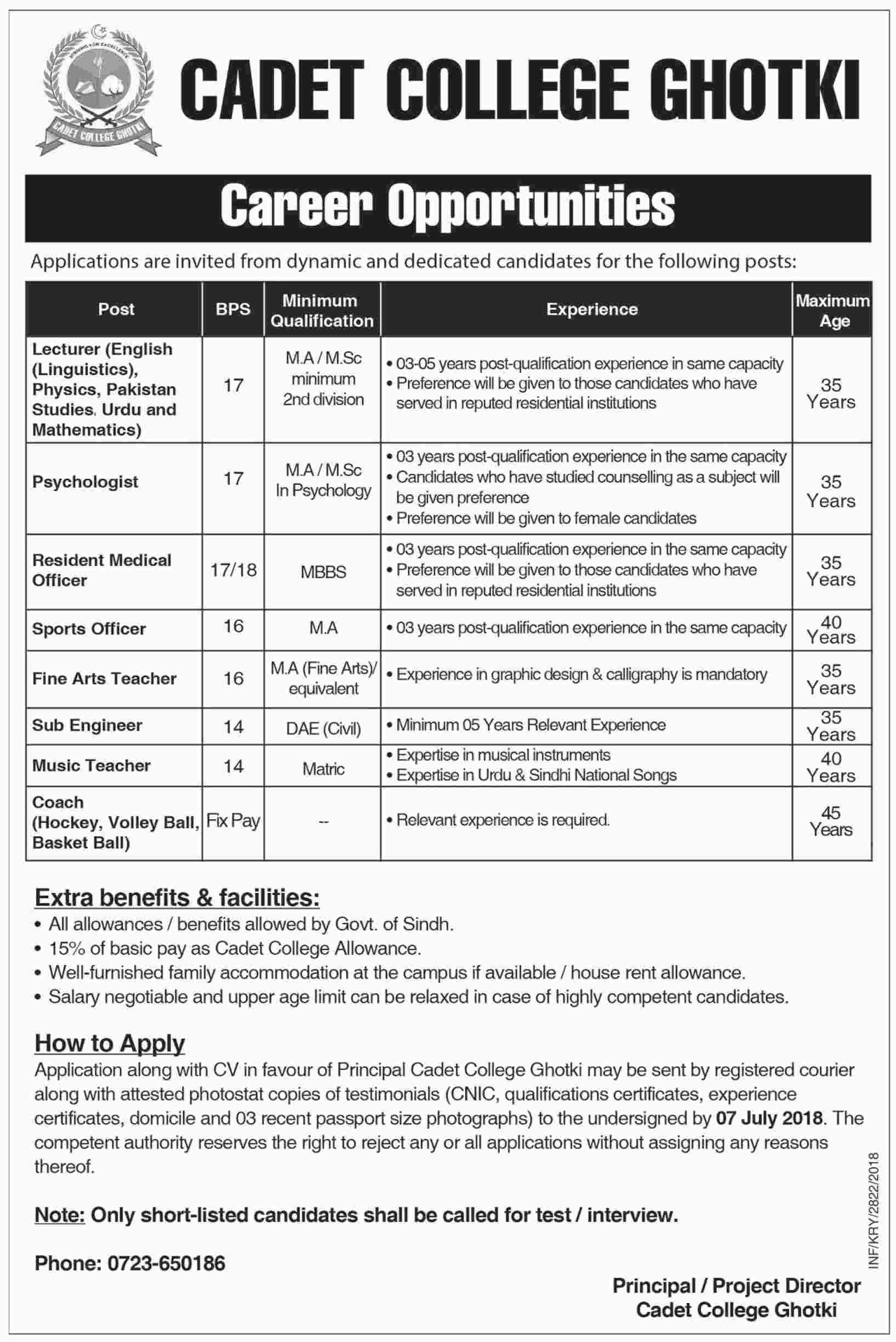 Jobs in Cadet College Ghotki 24 June 2018