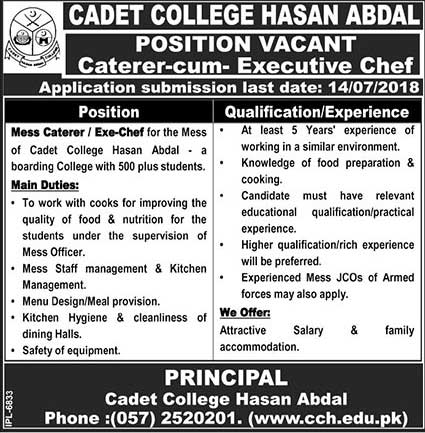 Jobs in Cadet College Hasan Abdal 02 July 2018