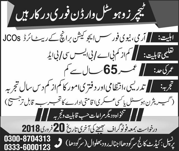 Jobs In Cadet College Sargodha 29 Jan 2018