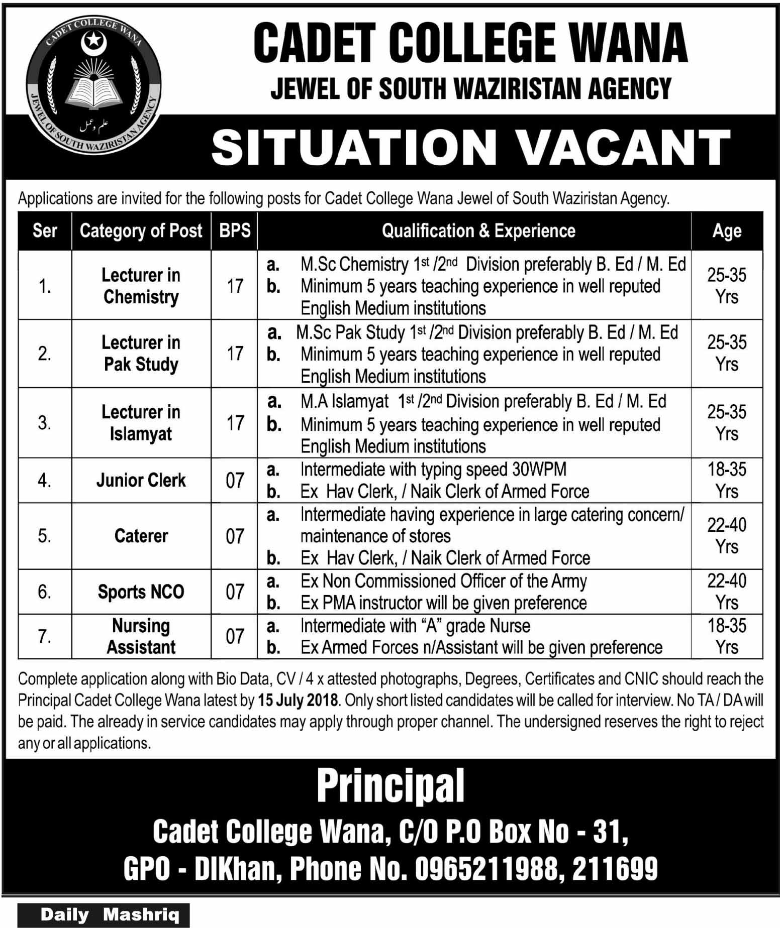 Jobs in Cadet College Wana 30 June 2018