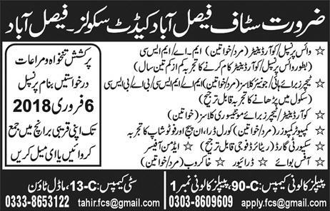Jobs in Cadet School Faisalabad 28 Jan 2018