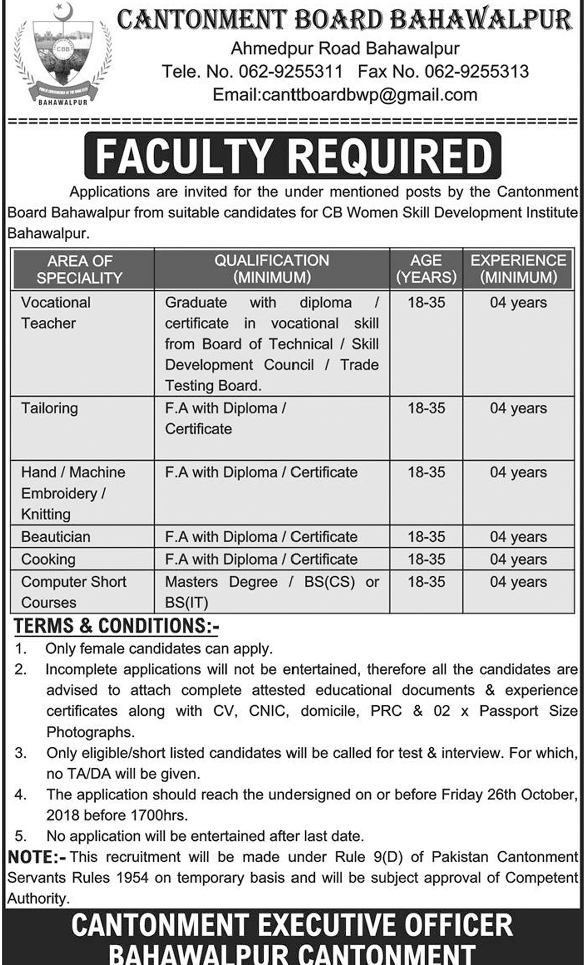 Jobs In Cantonment Board Bahawalpur 11 Oct 2018