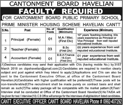 Jobs In Cantonment Board Havelian 17 Mar 2018