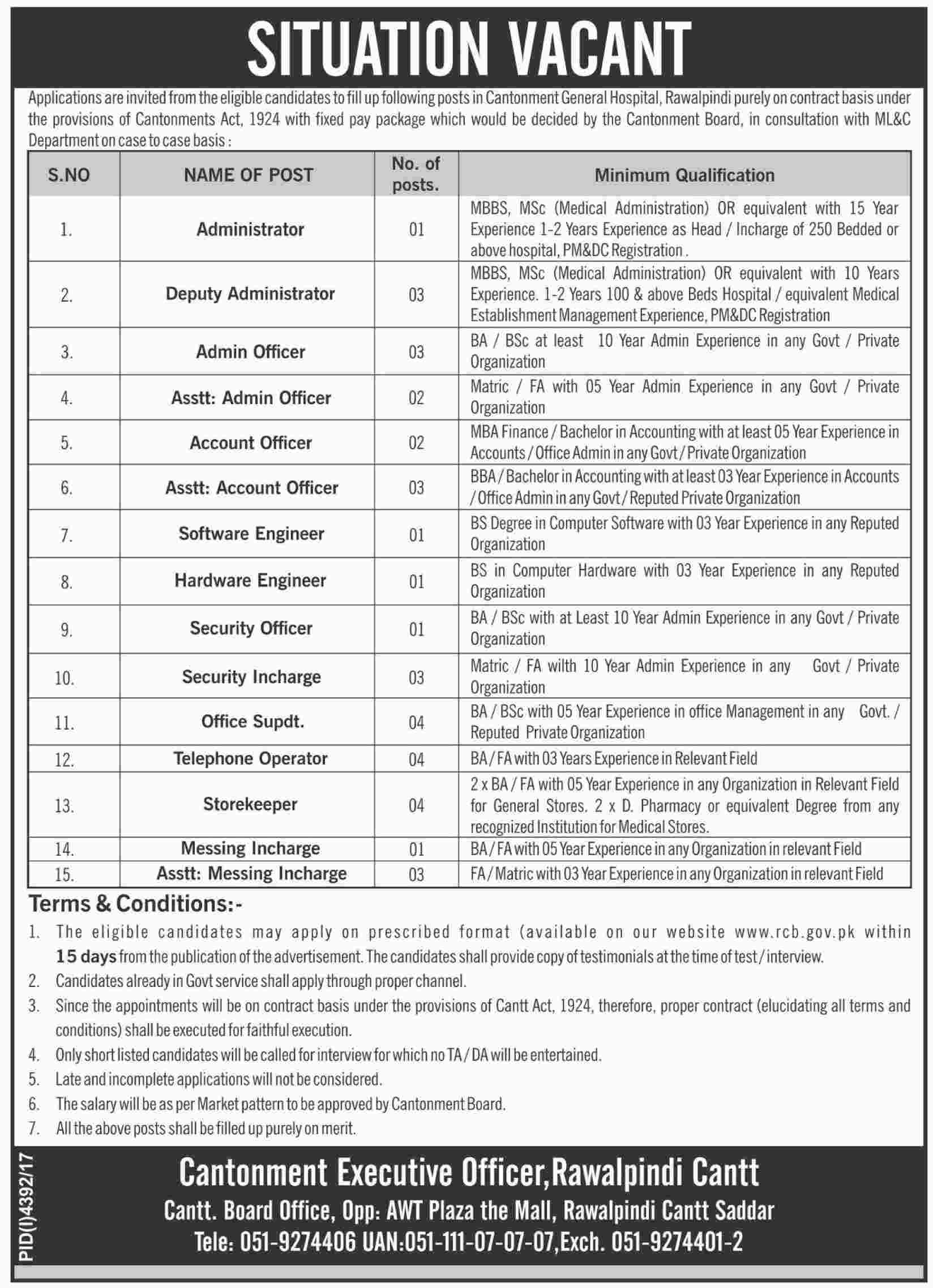 Jobs In Cantonment Board Hospital 16 Feb 2018