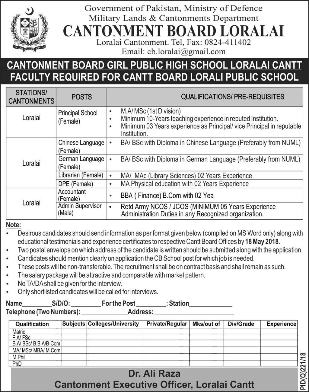 Jobs in Cantonment Board Loralai 09 May 2018