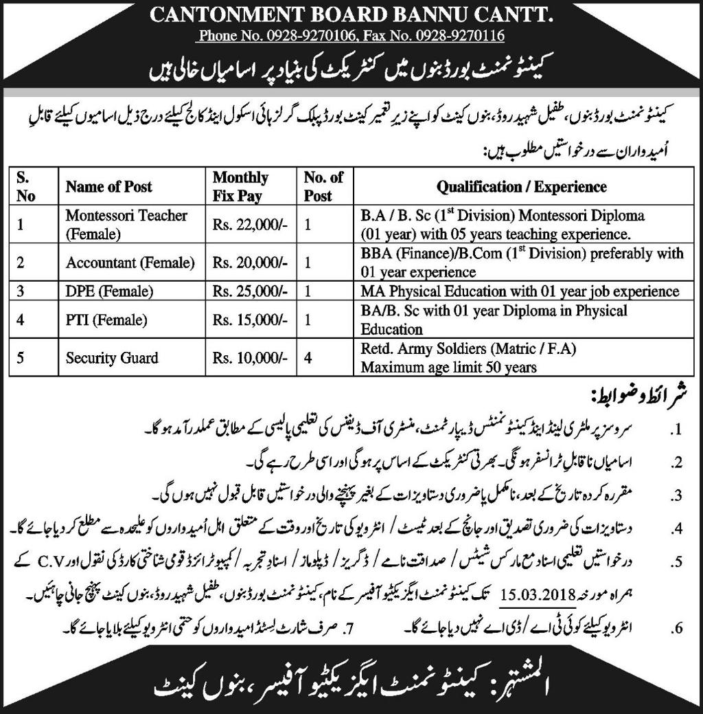 Jobs In Cantonment Board Public Girls High School And College 10 Mar 2018
