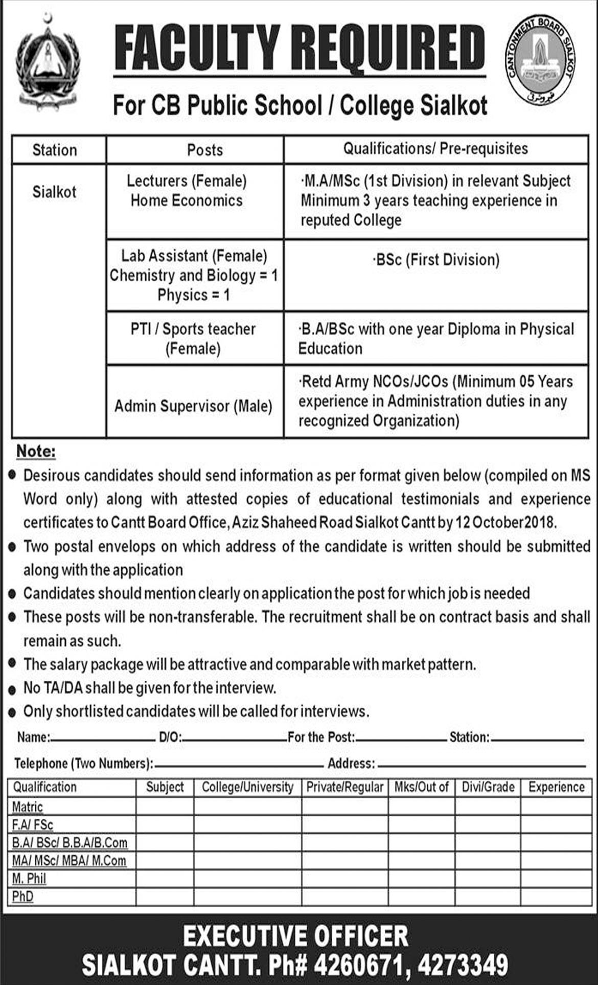 Jobs In Cantonment Board Public School And College 03 Oct 2018