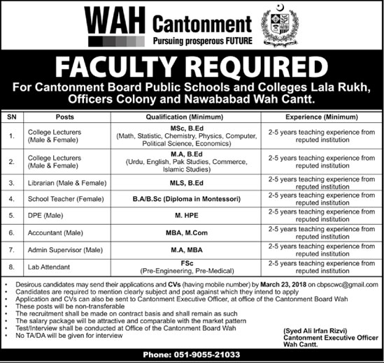 Jobs in Cantonment Board Public School and Colleges 14 March 2018