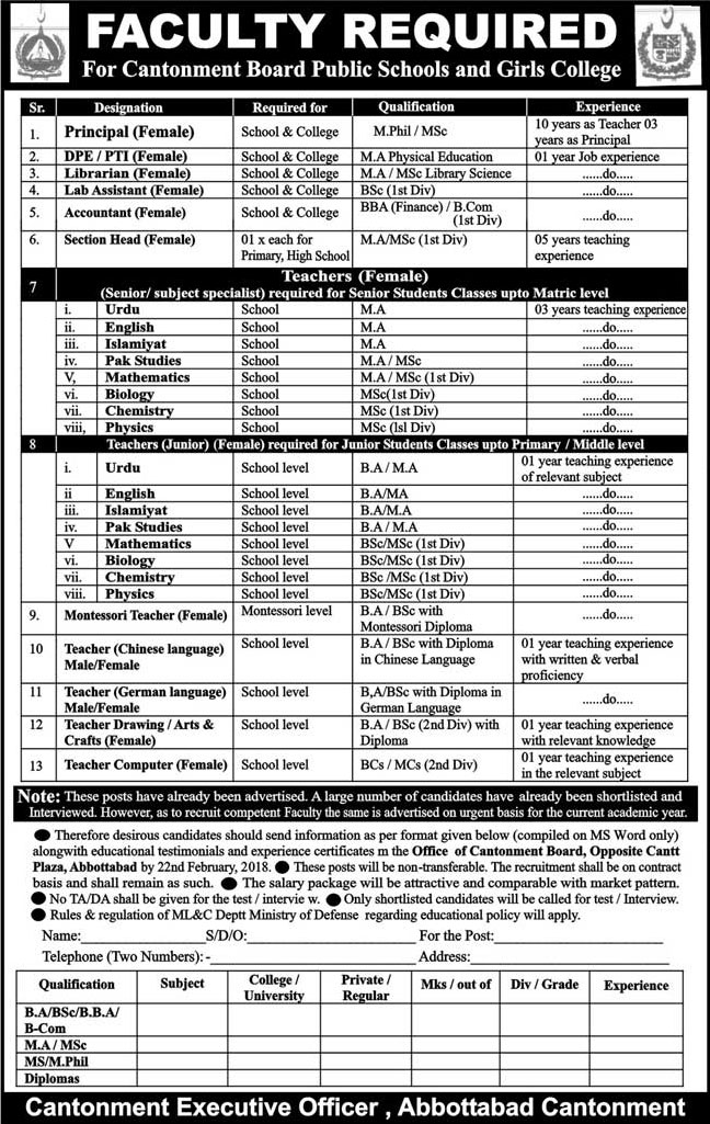 Jobs In Cantonment Board Public School And Girls College 16 Feb 2018