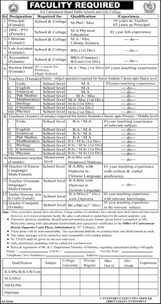 Jobs in Cantonment Board Public School and Girls College 20 Feb 2018