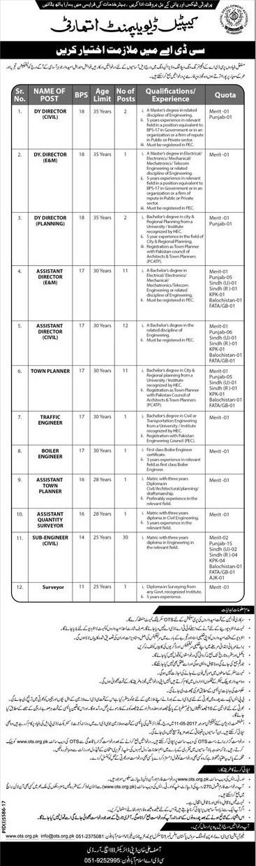 Jobs in Capital Development Authority 10 April 2018