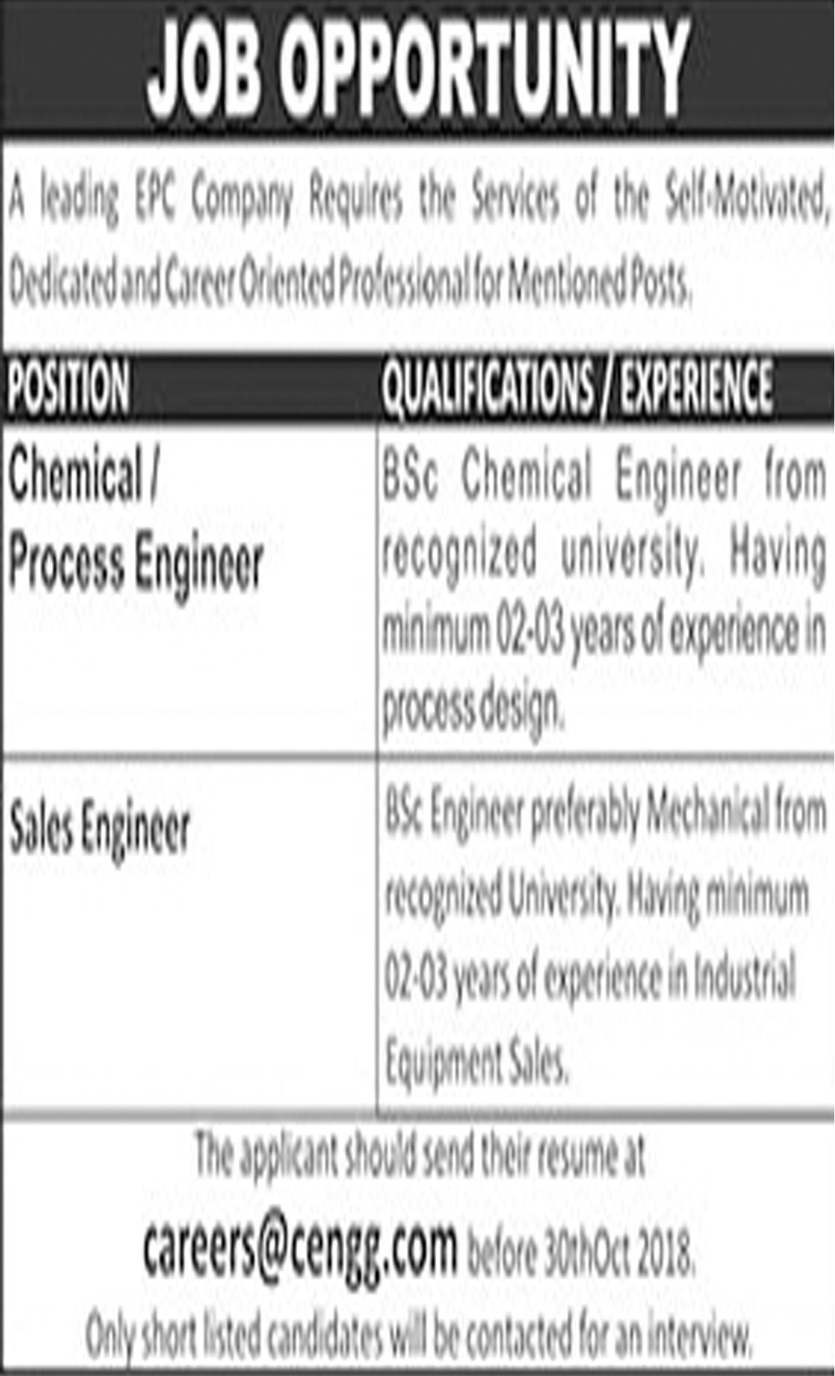 Jobs In Chemical Process Engineer, Sales Engineer  16 Oct 2018