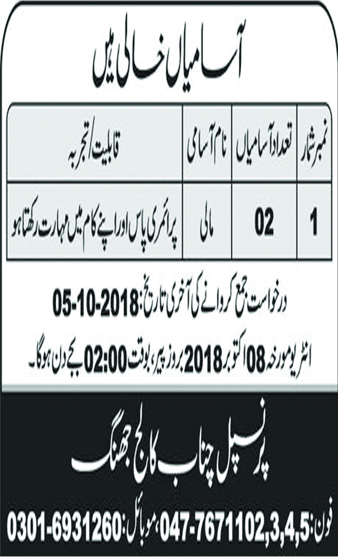 Jobs In Chenab College Jhang 28 Sep 2018