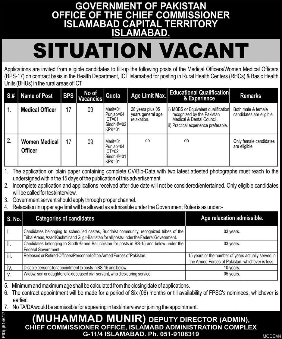 Jobs In Chief Commissioner Office Islamabad 22 Mar 2018