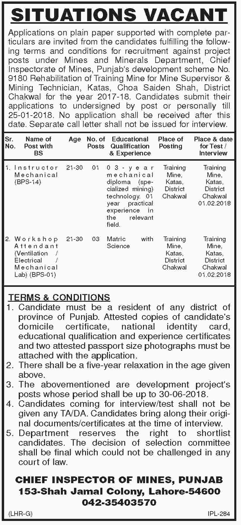 Jobs In Chief Inspector Of Mins Punjab 12 Jan 2018