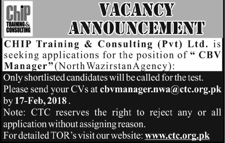 Jobs in Chip Training and Consulting in Islamabad 13 Feb 2018