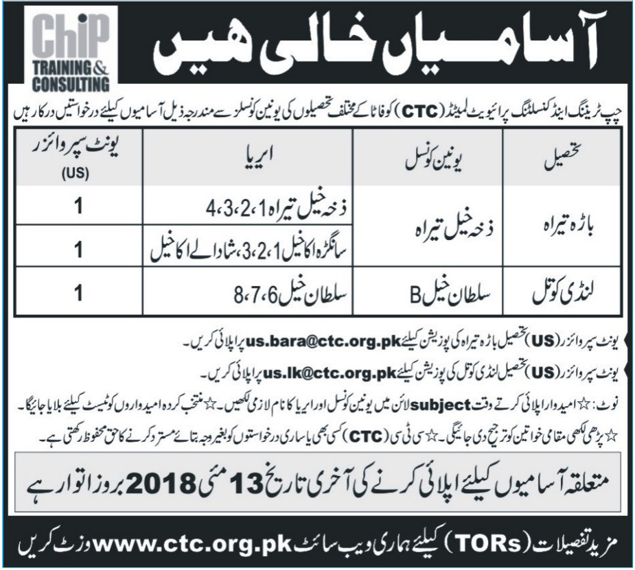 Jobs in Chip Training & Consulting Pvt Ltd 09 May 2018