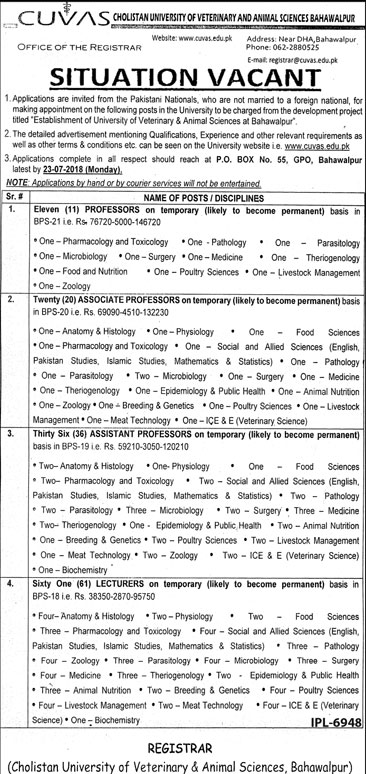 Jobs in Cholistan University of Veterinary and Animal Sciences Bahawalpur 07 July 2018
