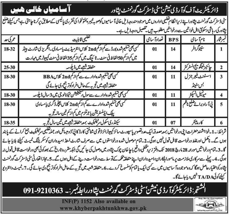 Jobs in City District Govt Peshawar 08 March 2018