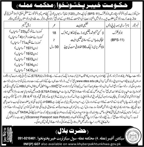 Jobs In Civil Secretariat Khyber Pakhtunkhawa 03 Feb 2018