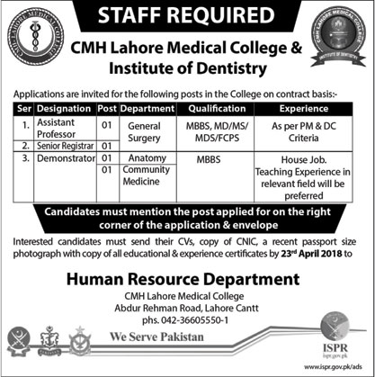 Jobs in CMH Medical College & Institute of Dentistry 17 April 2018