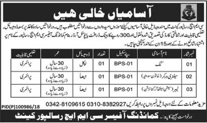 Jobs in CMH Risalpur Cantt 01 July 2018