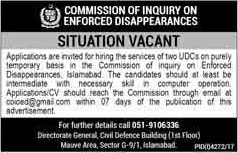 Jobs in Commission of Inquiry on Enforced Disappearances in Islamabad 09 Feb 2018
