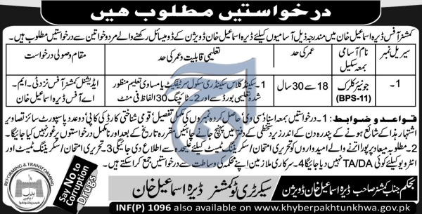 Jobs In Commissioner Office Dera Ismail Khan 05 Mar 2018