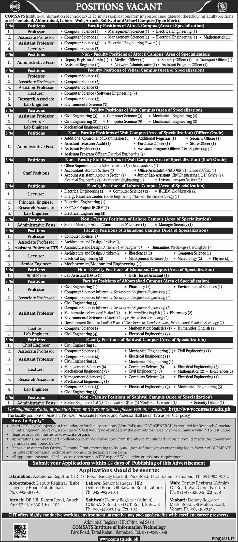 Jobs in Comsats Institute of Information Technology 28 Jan 2018