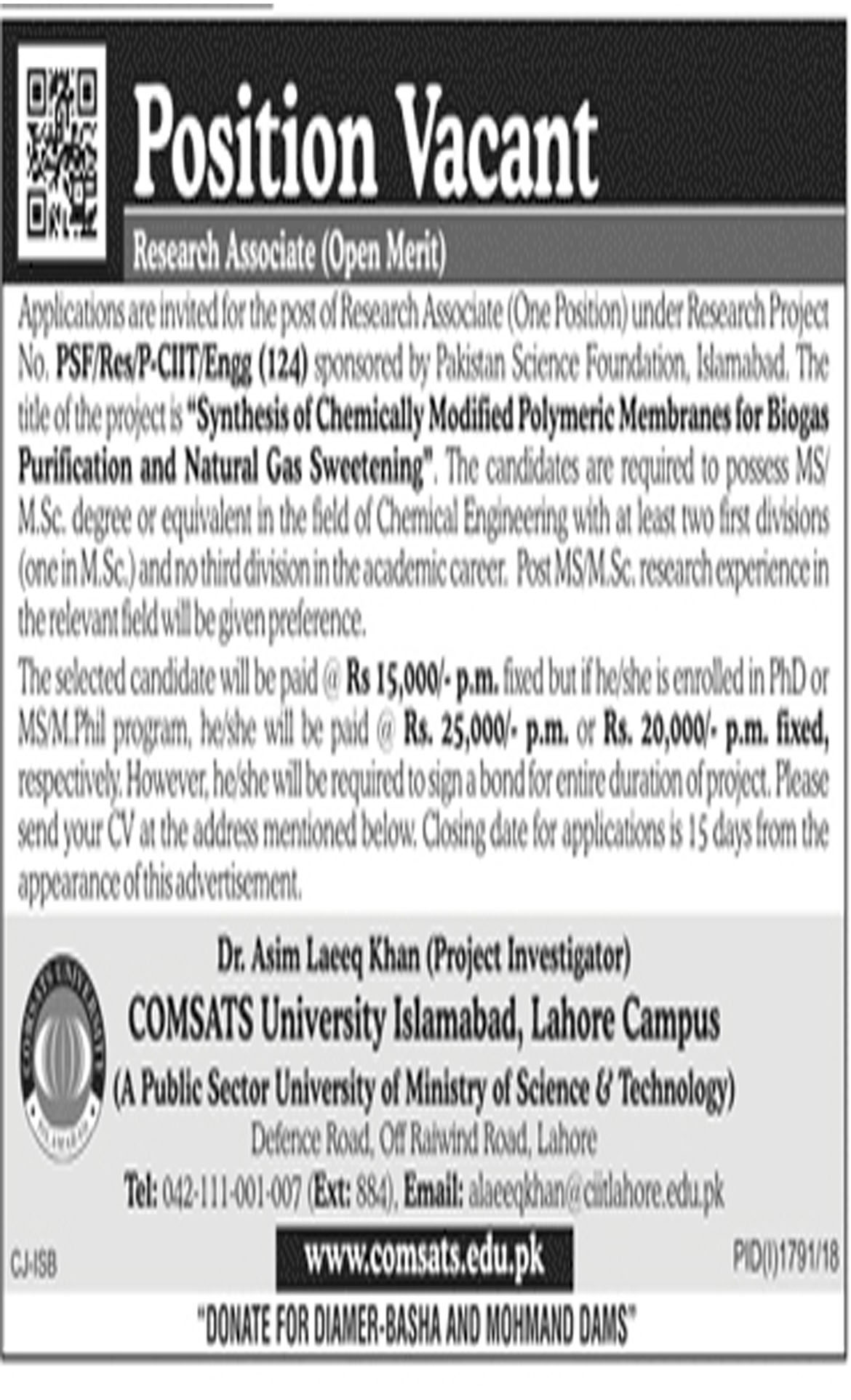 Jobs In COMSATS University Islamabad 22 Oct 2018