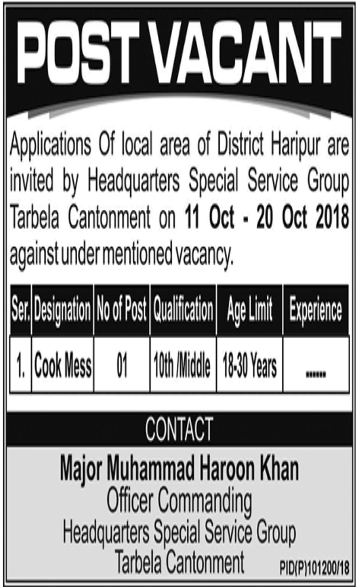 Jobs In Cook Mess Required In District Haripur 10 Oct 2018