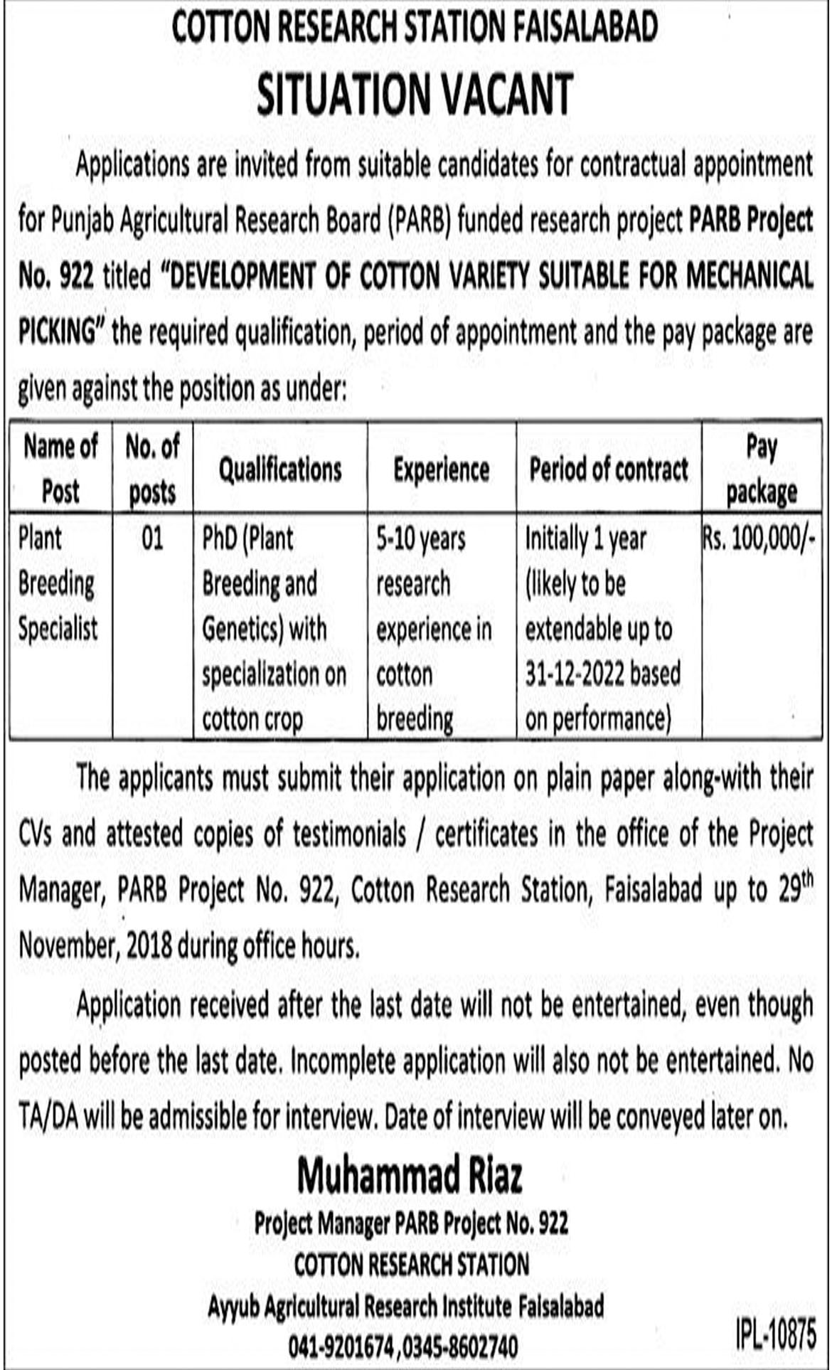 Jobs In Cotton Research Station Faisalabad 15 Nov 2018