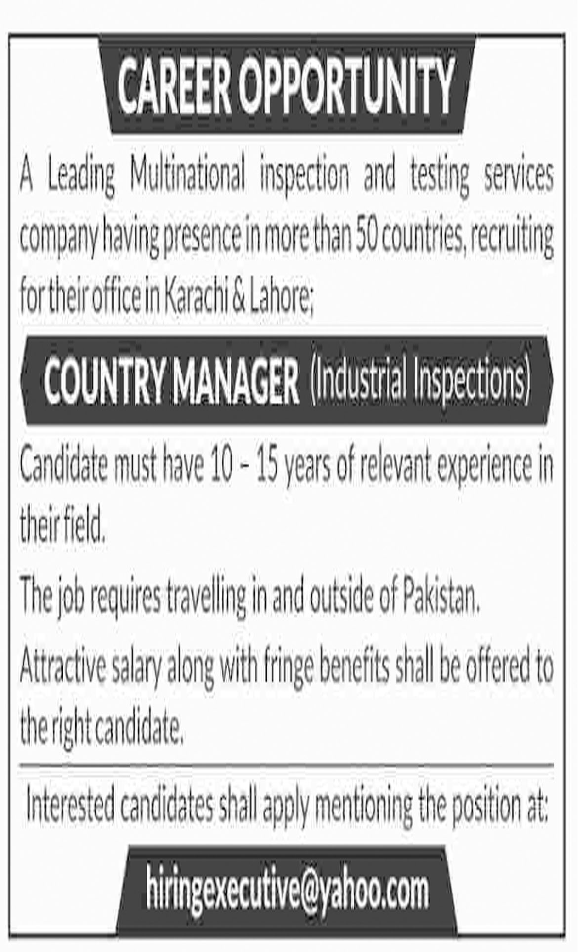 Jobs In Country Manager Required In Lahore And Karachi 05 Nov 2018