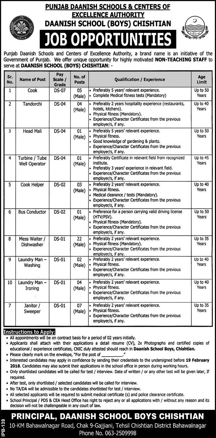 Jobs In Daanish School & Centers Of Excellence Authority 09 Feb 2018
