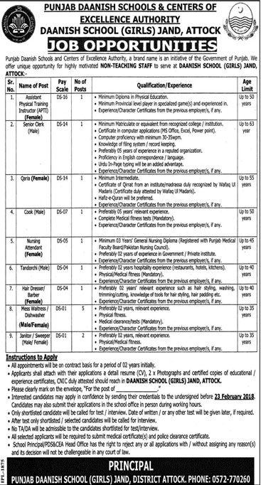 Jobs in Daanish School Girls Jand in Attock 15 Feb 2018