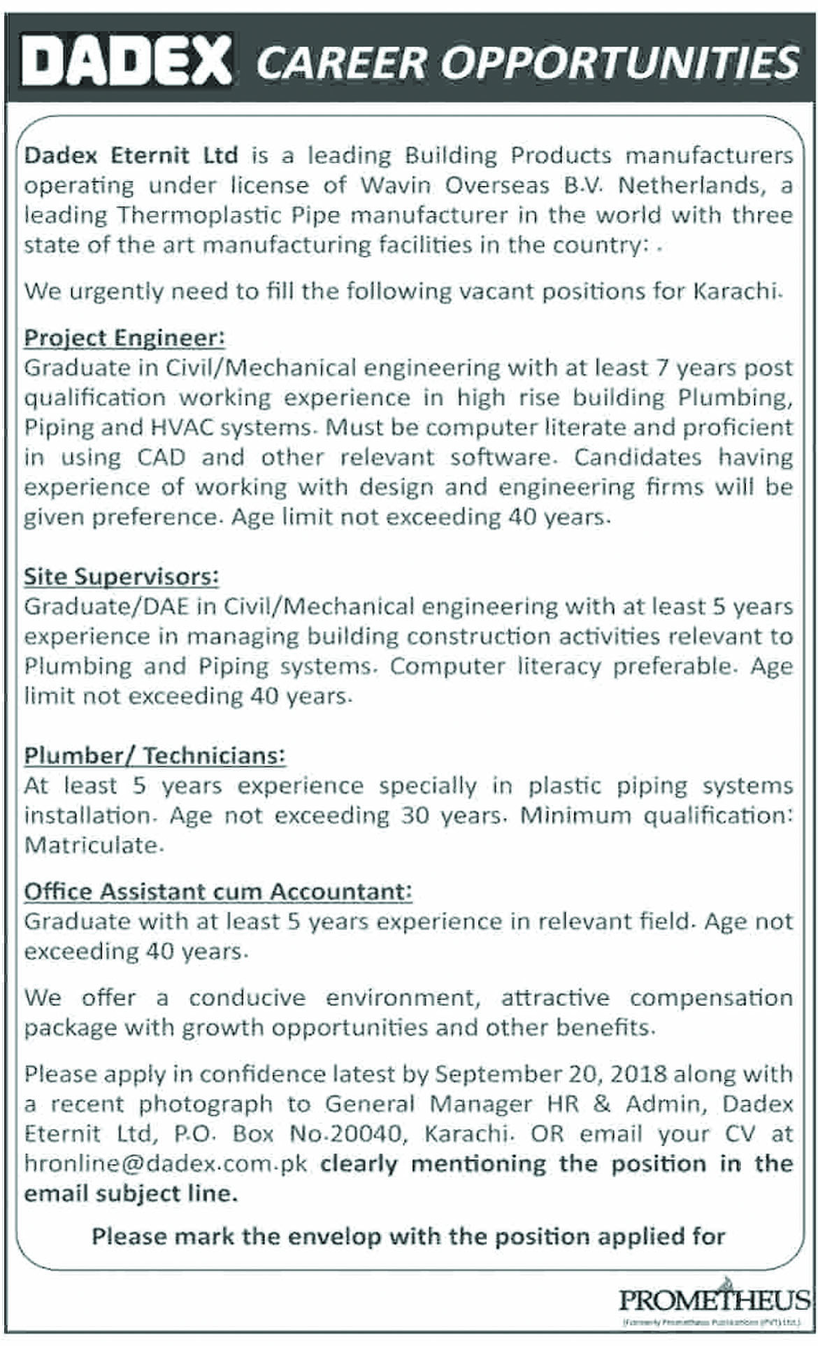 Jobs In Dadex Eternit Limited 10 Sep 2018