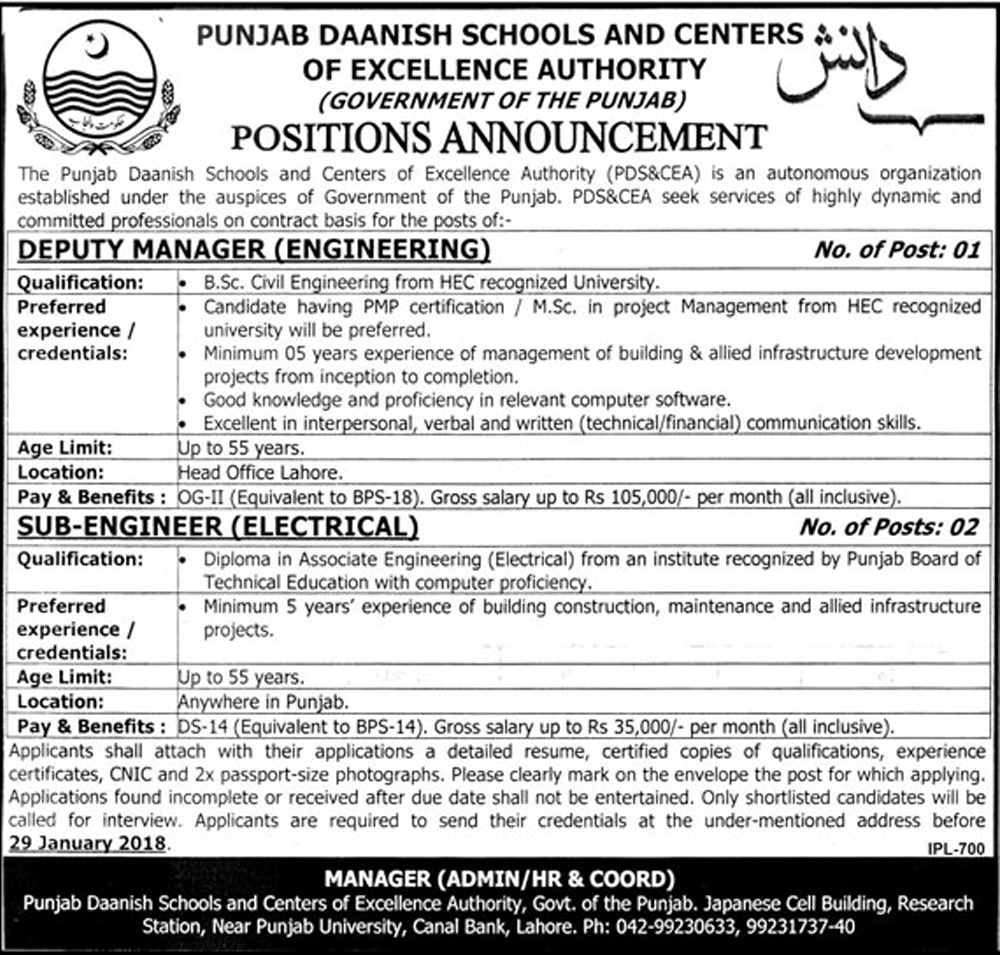 Jobs In Danish School Of Punjab 18 Jan 2018