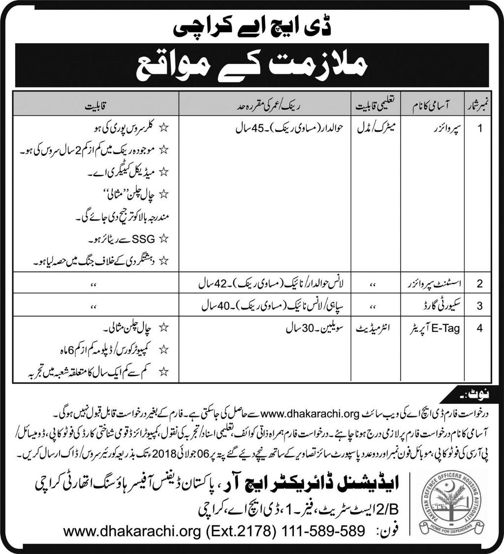 Jobs in Defense Housing Authority Karachi 27 June 2018